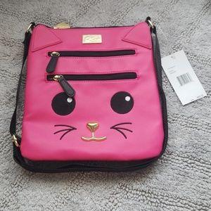 Kitty cat hot pink crossbody by Betsey Johnson